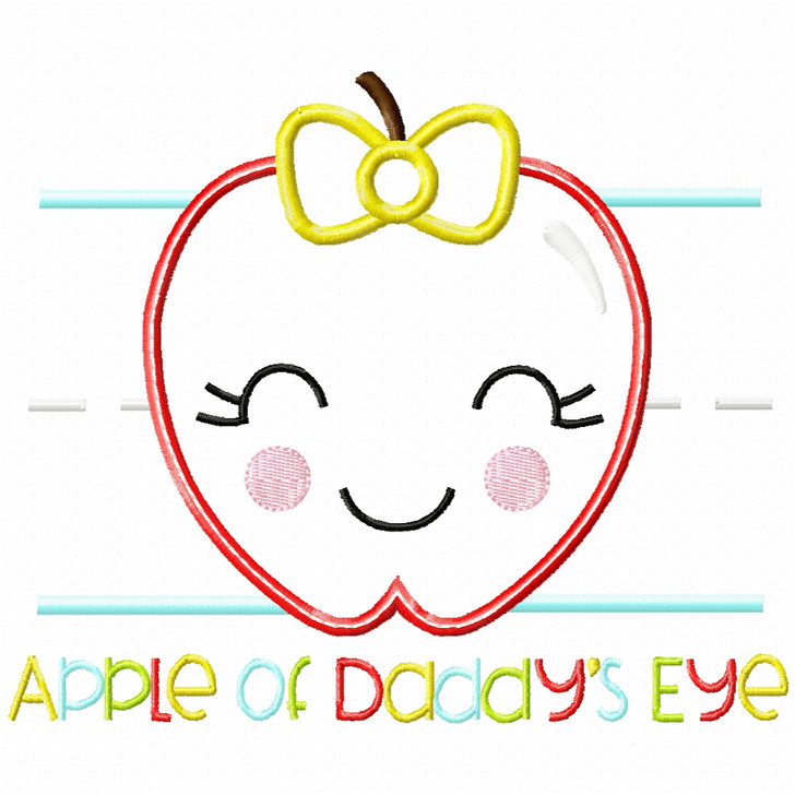 Apple of Daddys Eye Satin and Zigzag Applique