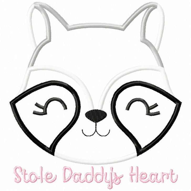 Stole Daddys Heart Satin and Zigzag Applique