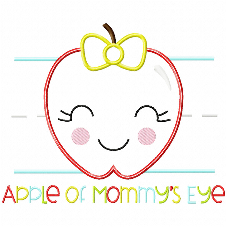 Apple of Mommys Eye Satin and Zigzag Applique