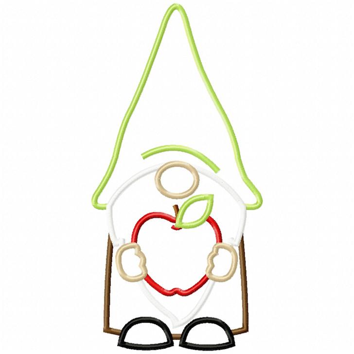 Apple Gnome Satin and Zigzag Applique