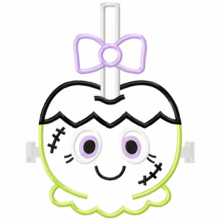Girly Franken Candy Apple Satin and Zigzag Applique