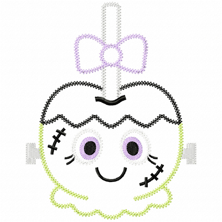 Girly Franken Candy Apple Vintage and Chain Applique