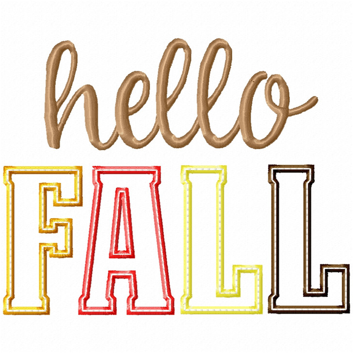Hello Fall Satin and Zigzag Applique