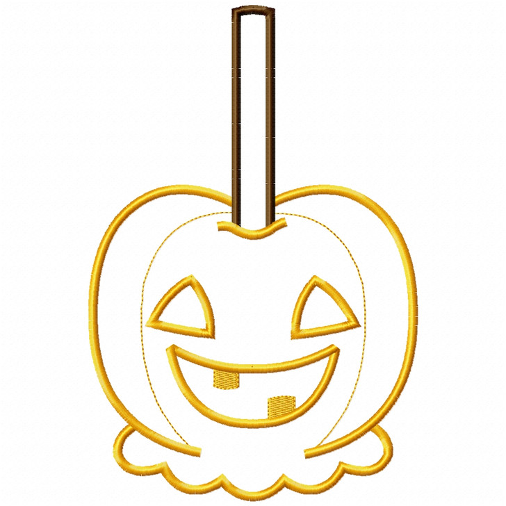 Jack O Lantern Candy Apple Satin and Zigzag Applique
