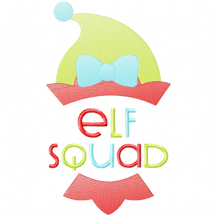 Girl Elf Squad Stitch and Sketch Fill Applique