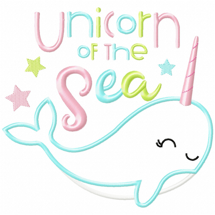 Unicorn of the Sea Narwhale Satin and Zigzag Applique