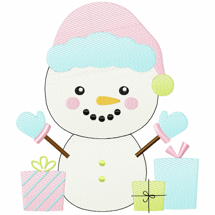 Christmas Snowman Simple Stitch and Sketch Fill Applique