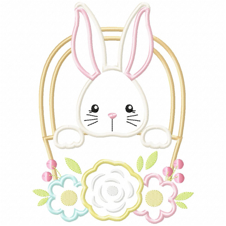 Basket Bunny Satin and Zigzag Applique