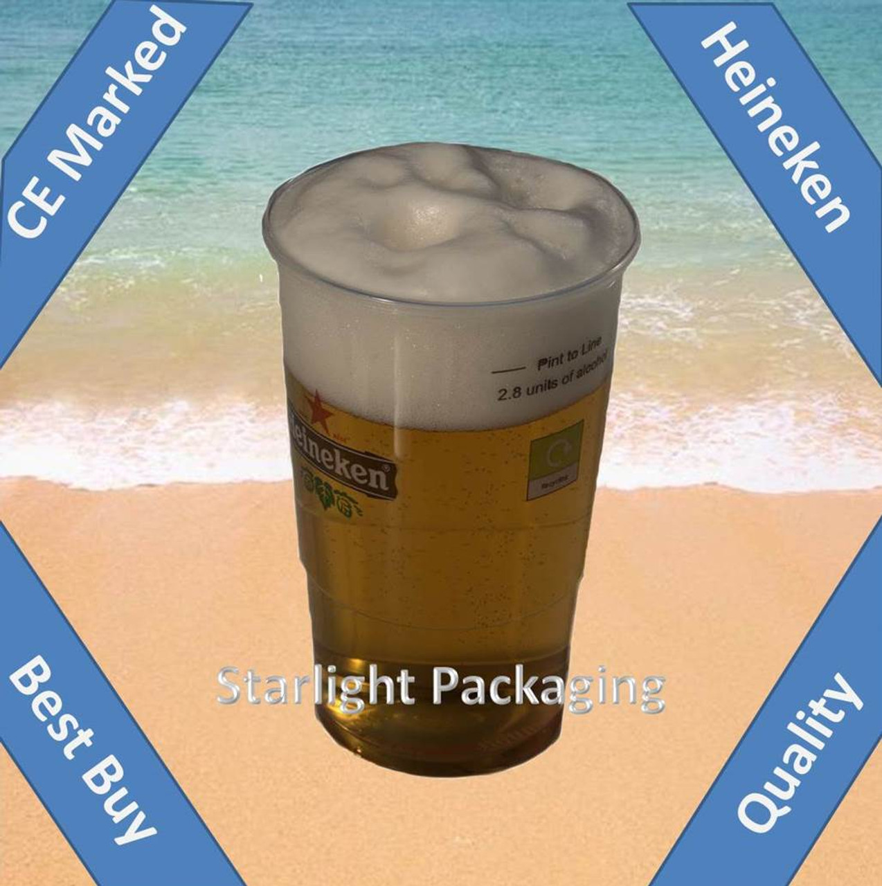 Pack x 50 Disposable Quality C E marked  1 pint Printed Heineken  plastic glasses