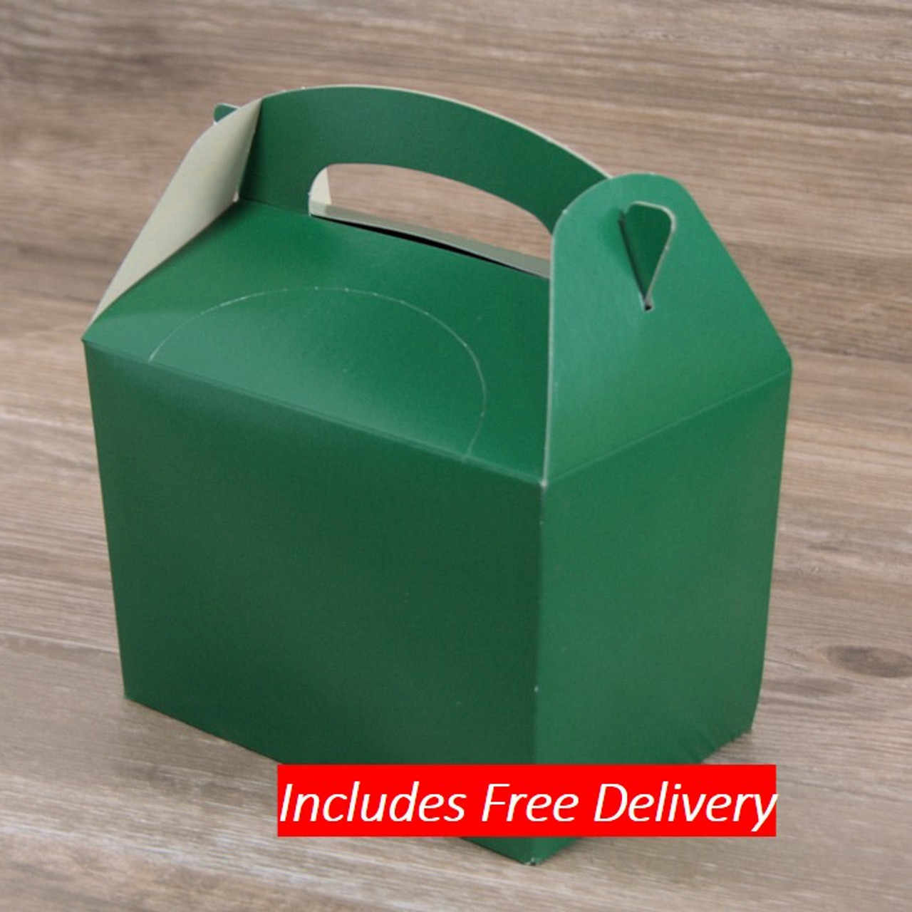 Pack x 10 Childrens Cardboard meal boxes plain Green