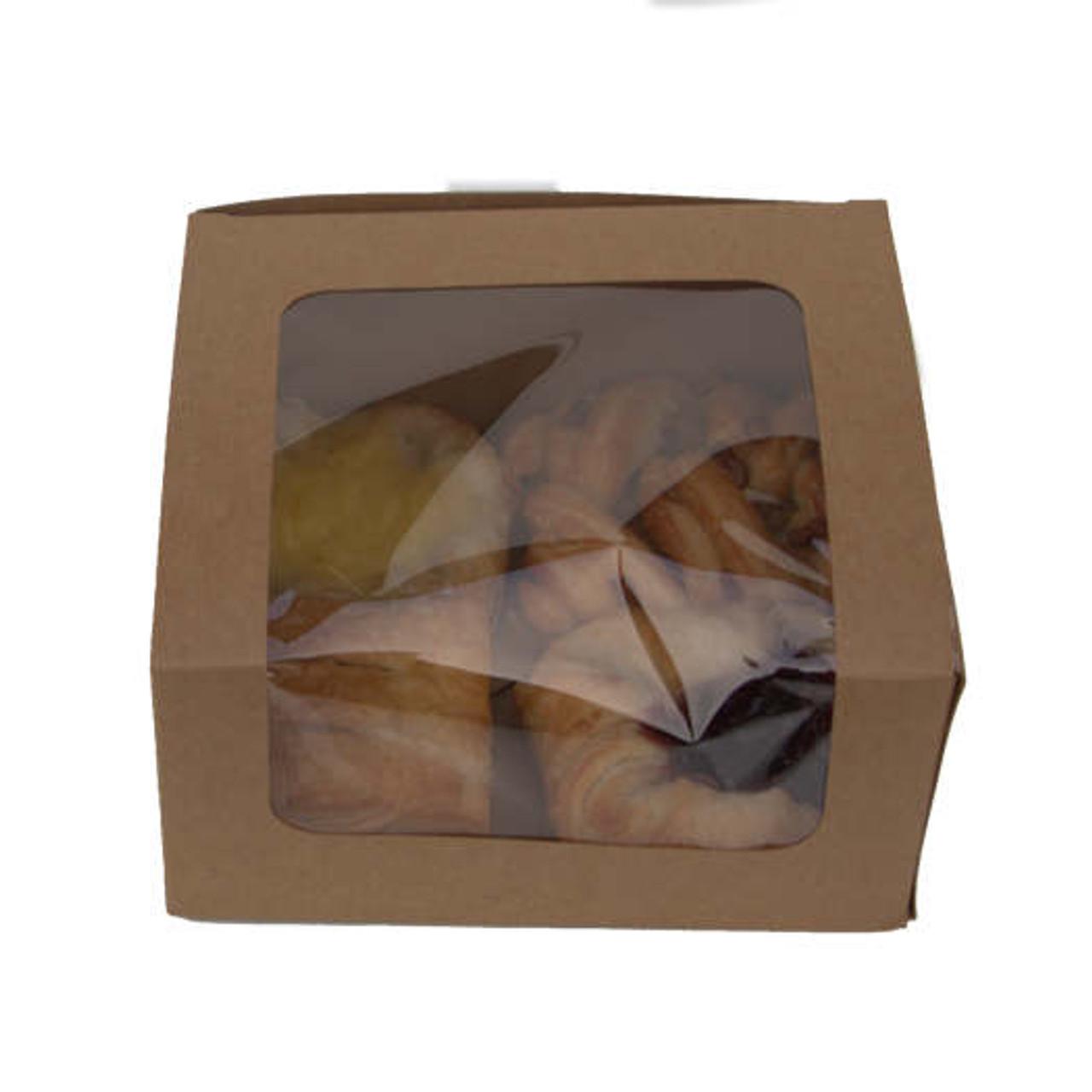 Pack x 50 Cardboard kraft Window Bakery Box 140x 125 x 72mm Size 1