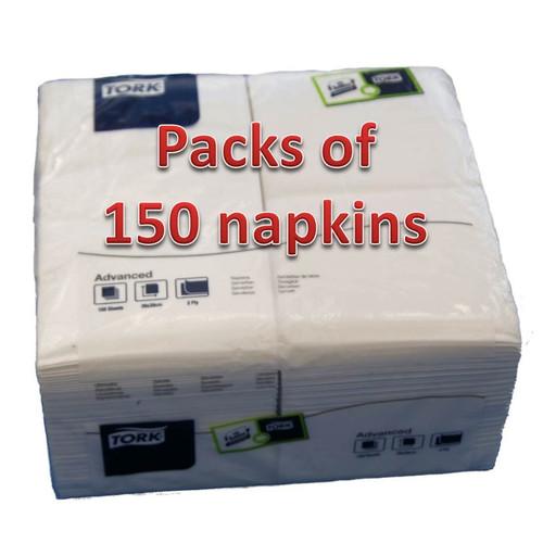 Pack x 150 2Ply 39cm Quality White Dinner Napkins ( min 12 packs )