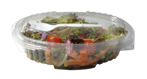 750ml Oblong Hinged Lid salad Container with SPORK