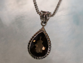 "Smokey Quartz | Sterling Silver PEndant with 18"" Chain"