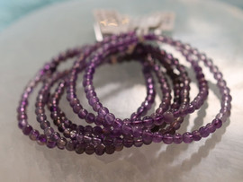 Amethyst Bracelet - 4mm Round