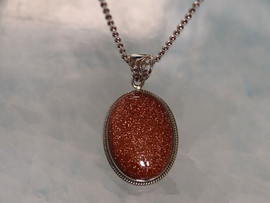 "Gold Stone | Sterling Silver Pendant with 20"" Chain"