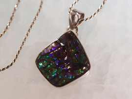"Ammolite & Sterling Silver Pendant with a 20"" Chain"