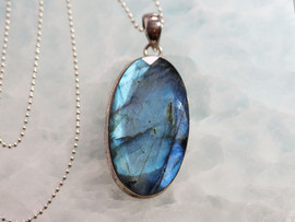 "Faceted Labradorite & Sterling Silver Pendant with  24"" Ball Chain"