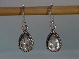 Clear Quartz & Sterling Silver Earrings