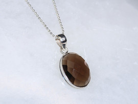 Faceted Smoky Quartz Necklace with Sterling Silver 20""