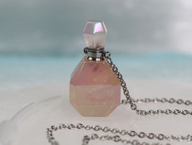 Rose Quartz Angel Aura Necklace (w/ Pipette)