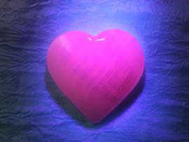 Florescent Pink Calcite Hearts