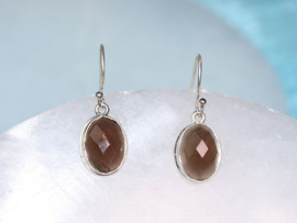Faceted Smoky Quartz Earrings in Sterling Silver Setting