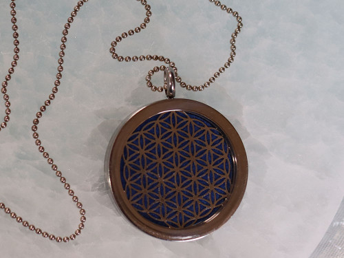 Aromatherapy Pendant - 2-Sided Flower of Life | Metatron |Sterling Silver Chain