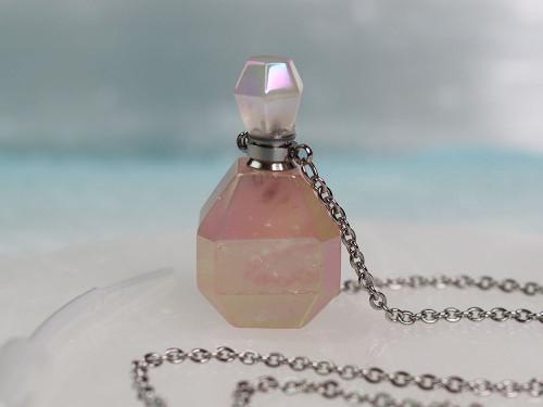 Rose Quartz Angel Aura Necklace (w/ Pipette)
