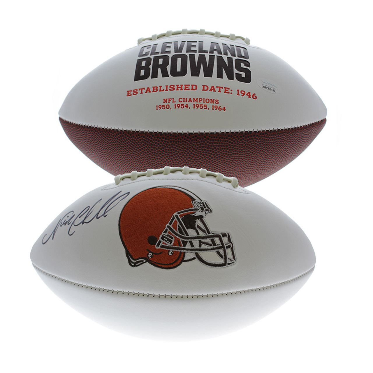 cheap for discount b9f52 eaaa9 Nick Chubb Autographed Cleveland Browns White Panel Football - JSA  Certified Authentic