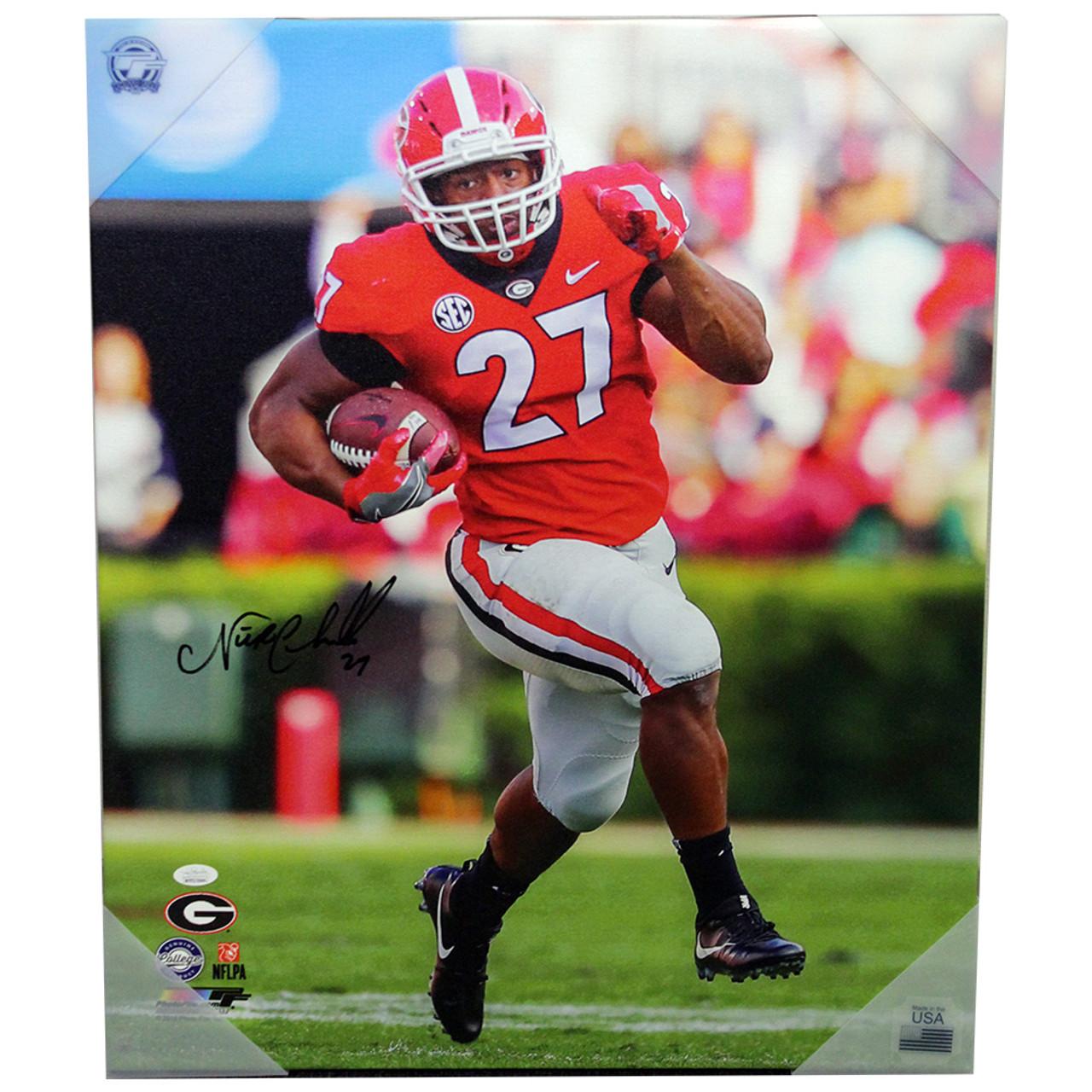 pretty nice aa827 7448c Nick Chubb Autographed Georgia Bulldogs Canvas - Red Jersey Running Upfield  - JSA Certified Authentic