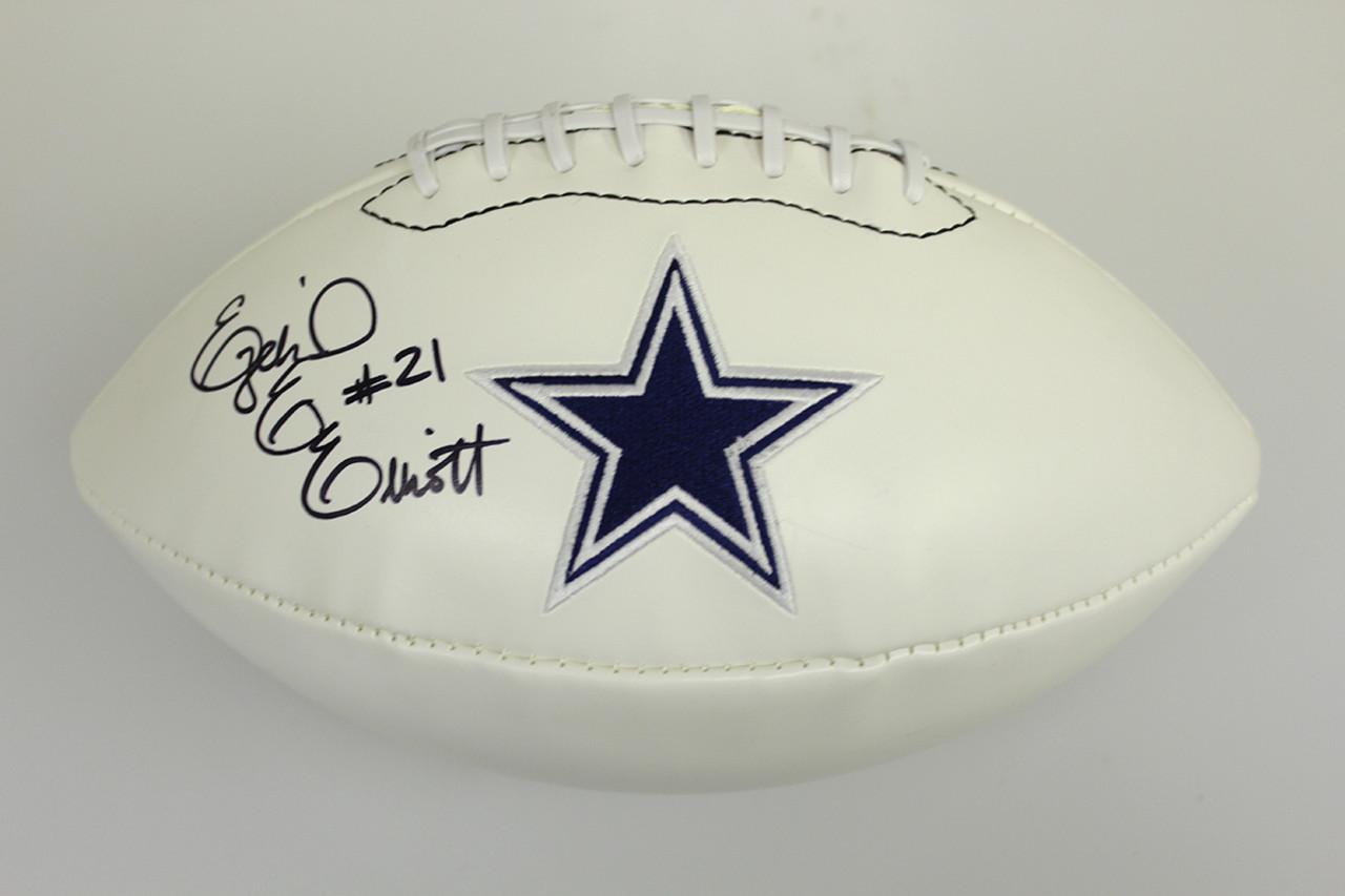 6648b31b9c6 Ezekiel Elliott Autographed Signed Dallas Cowboys White Panel Logo ...