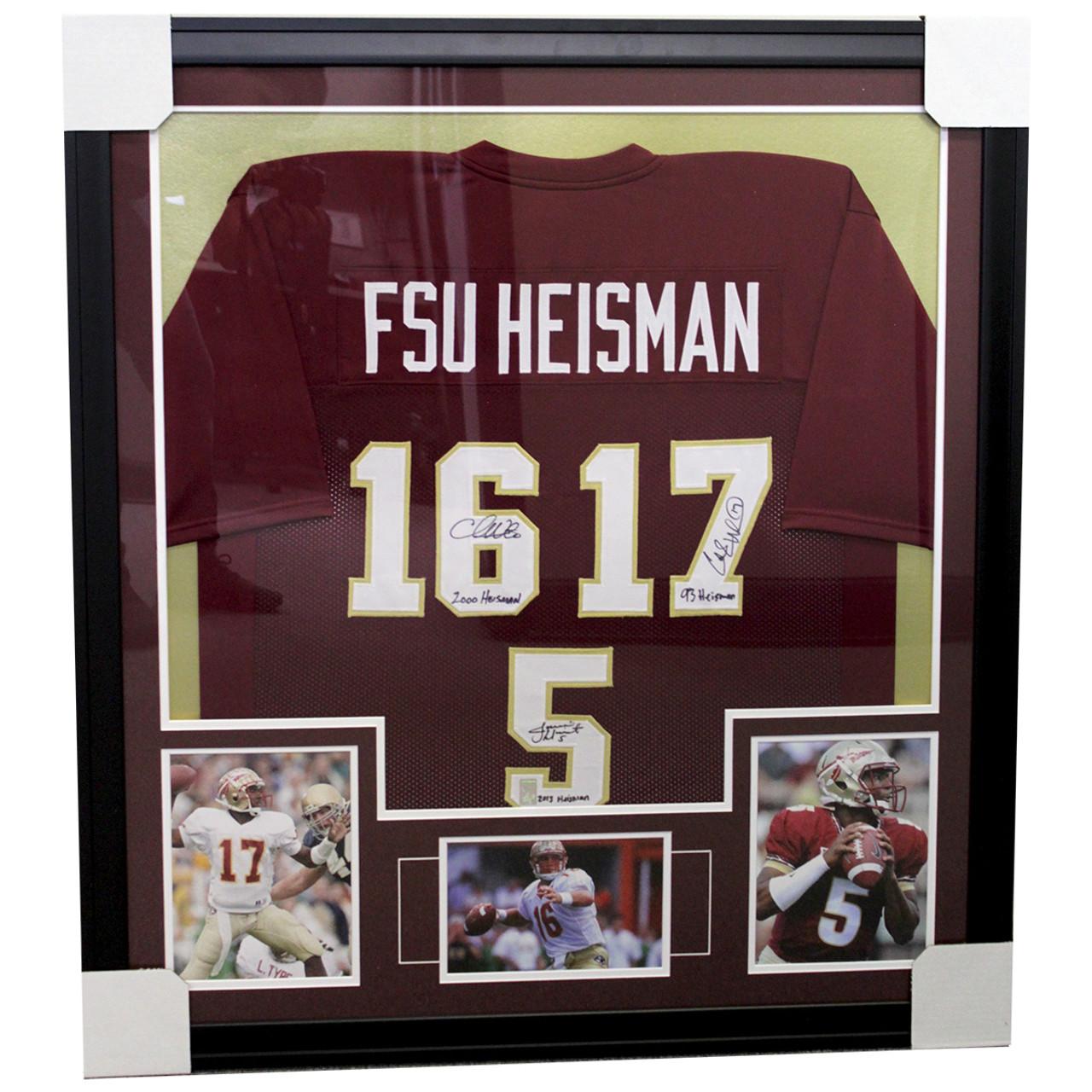 867088ad968 Florida State Seminoles 3 Heisman Framed Custom Garnet Jersey W ...