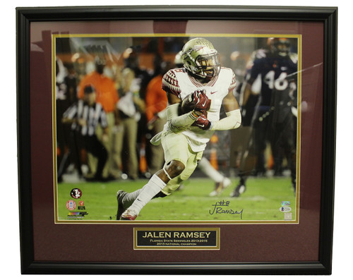 finest selection 24cbd d60e6 Jalen Ramsey Autographed Signed 16x20 Framed Photo (White Jersey) w/  Nameplate - Beckett Certified Authentic