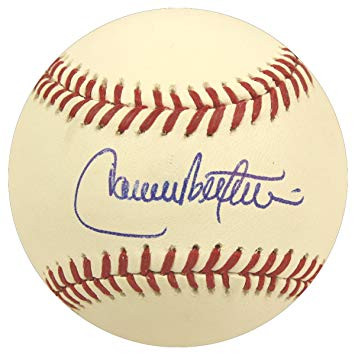 Carlos Beltran Autographed Official Baseball With Grandstand Cube Included