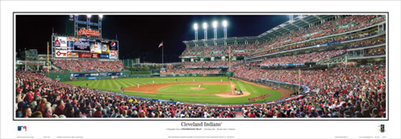 """""""Cleveland Indians"""" Progressive Field Panoramic Framed Poster"""