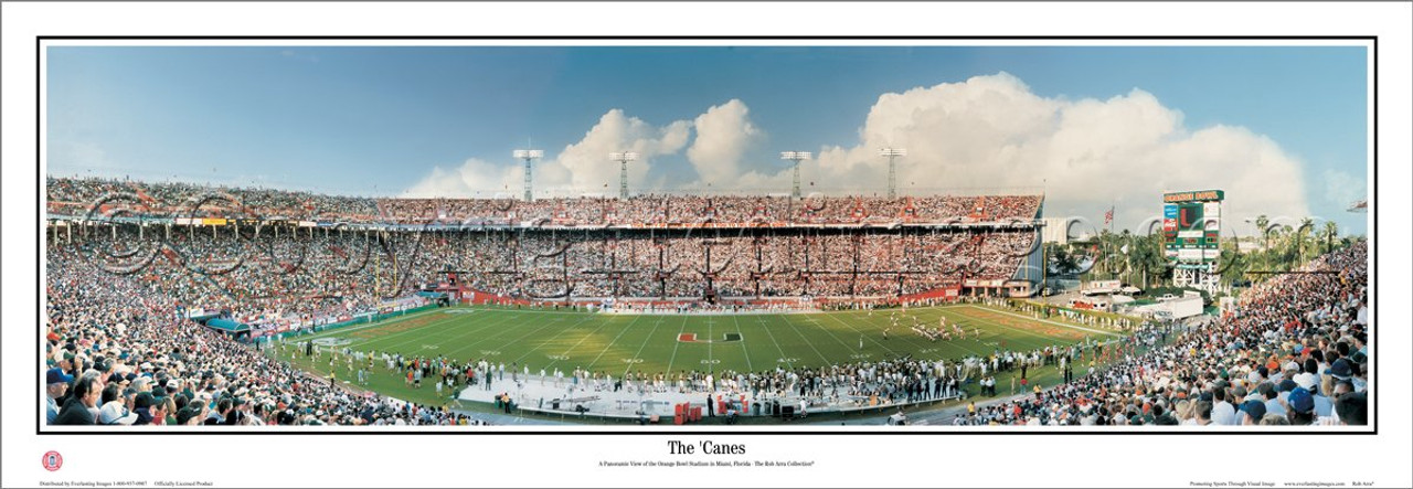 """""""The Canes"""" at the Orange Bowl Panoramic Poster"""