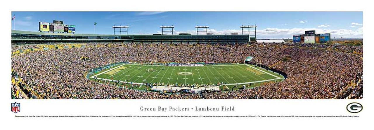 Green Bay Packers 50 Yard Line at Lambeau Field Panorama Poster