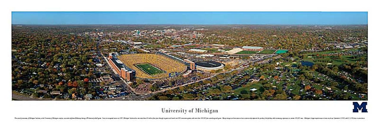 Michigan Wolverines At Michigan Stadium Aerial Panorama Poster
