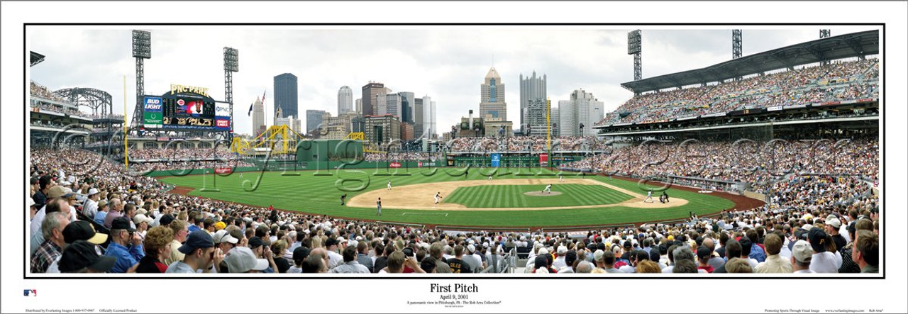 """""""First Pitch"""" Pittsburgh Pirates at PNC Park Panoramic Poster"""