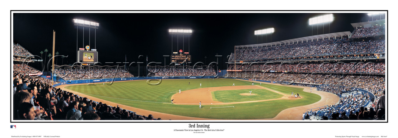 """""""3rd Inning"""" Los Angeles Dodgers Panoramic Framed Poster"""