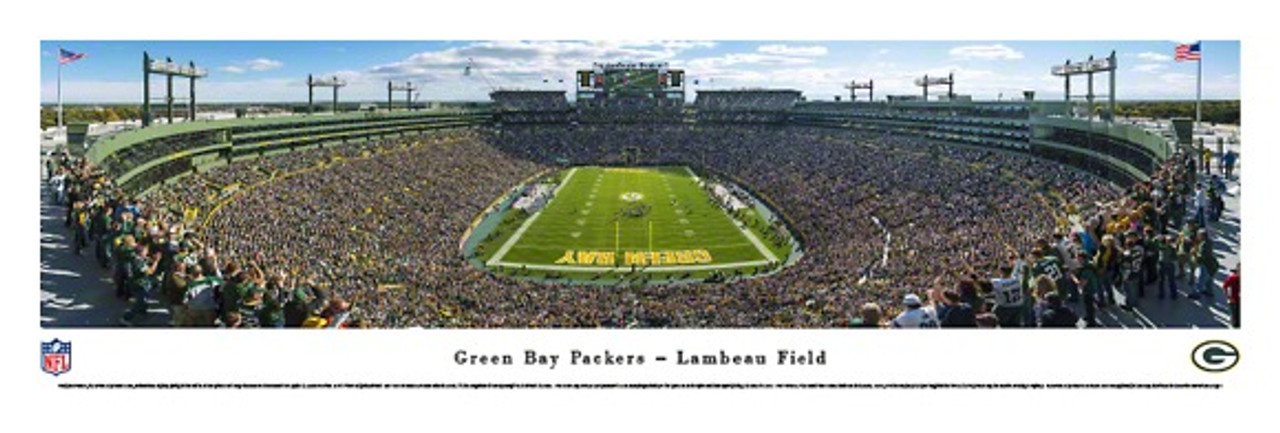 Endzone At Lambeau Field Green Bay Packers Panorama Poster The Stadium Shoppe