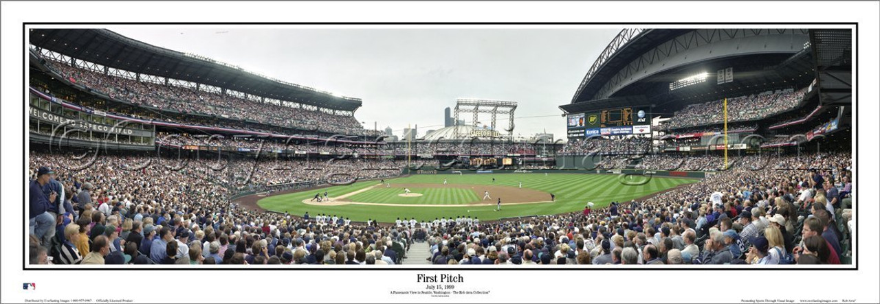 """""""First Pitch at Safeco Field"""" Seattle Mariners Panoramic Poster"""