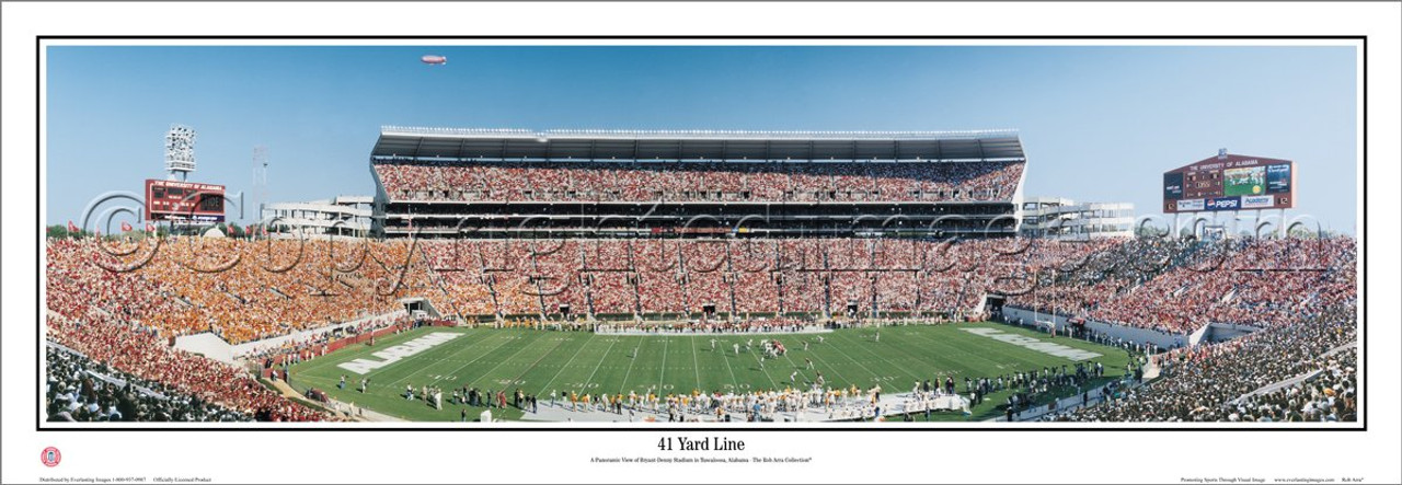 """41 Yard Line"" Alabama Crimson Tide Panoramic Poster"