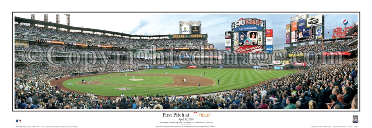 """""""First Pitch"""" New York Mets at Citi Field Panoramic Framed Poster"""
