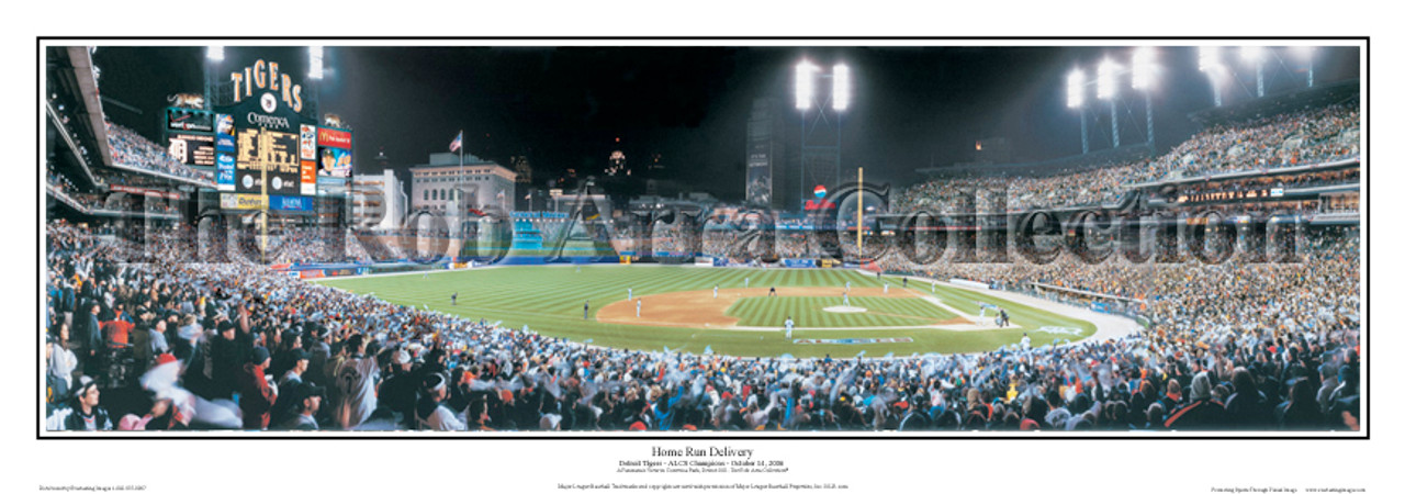 """Home Run Delivery"" Detroit Tigers Panoramic Framed Poster"