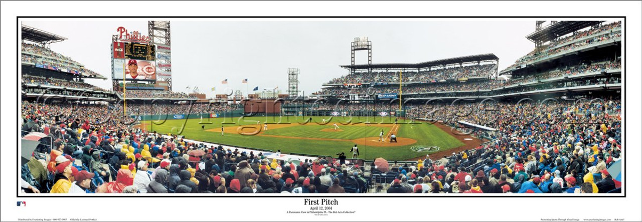 """""""First Pitch"""" Philadelphia Phillies Panoramic Framed Poster"""
