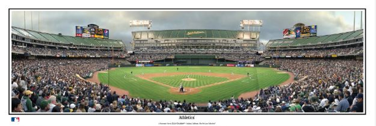 Oakland Athletics at the Oakland Coliseum Panoramic Framed Poster