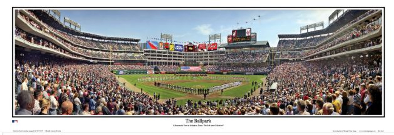 Texas Rangers at Globe Life Park Panoramic Framed Poster