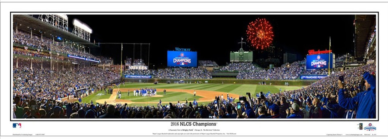 """""""2016 NLCS Champions"""" Chicago Cubs at Wrigley Field Panoramic Framed Poster"""